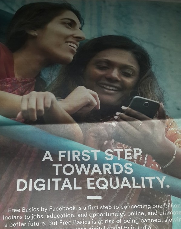 Over the last few days, Facebook has embarked on a massive advertisement campaign in favour of Free Basics even as TRAI has asked the company to temporarily suspend the service. Credit: Manikandan