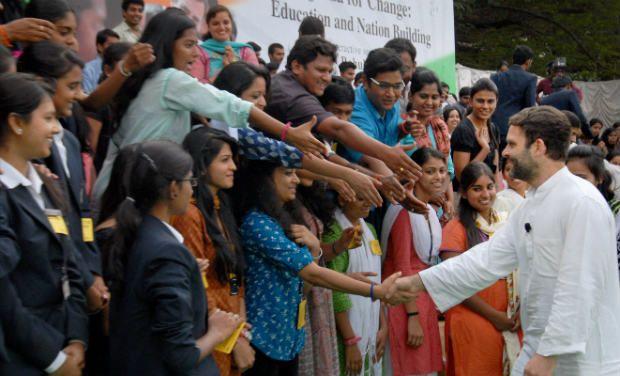 Rahul Gandhi meeting students in Bengaluru. Credit: PTI