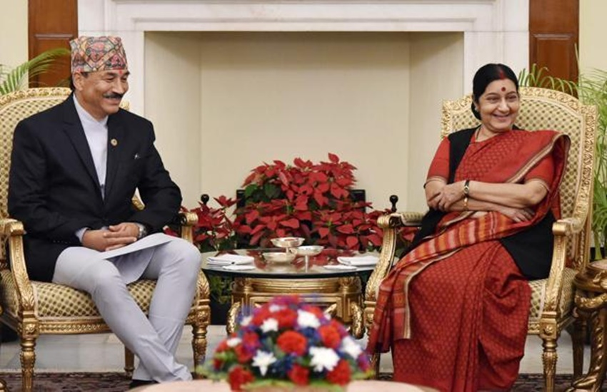Nepal's deputy prime minister and freign minister Kamal Thapa with India's external affairs minister, Sushma Swaraj. Credit: PTI