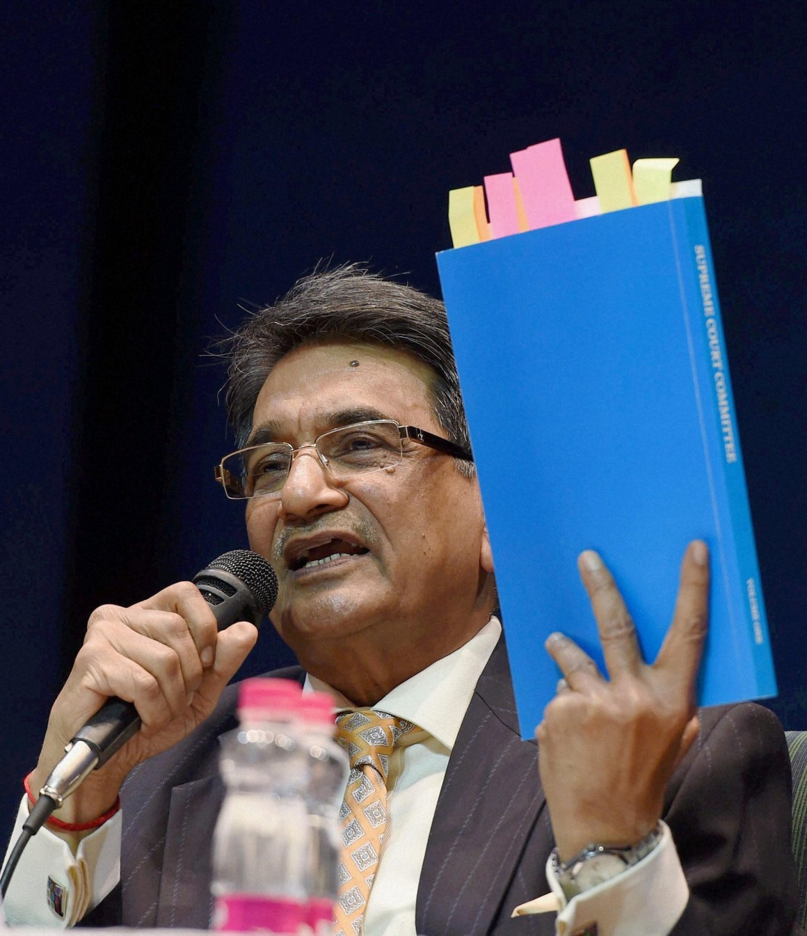 Chairman of the Supreme Court Committee on Reforms in Cricket, Justice (retd.) R M Lodha addressing a press conference after tabling the committee's report in New Delhi on January 4. Credit: PTI Photo by Subhav Shukla