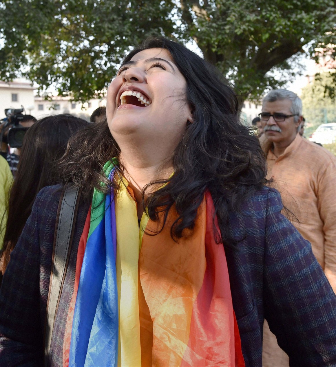 Gay rights activist Amalina Dave smiles outside the Supreme Court in New Delhi on Tuesday after the apex court agreed to hear curative petitions on Section 377 of the IPC which makes gay sex a criminal offence. Credit: PTI Photo by Kamal Singh