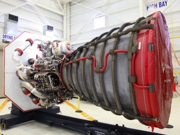 A RS-25D engine in the Engine Processing Facility at Kennedy Space Center, Florida, is awaiting placement in a transportation canister for shipment to Stennis Space Center in south Mississippi, 2012. The 15 RS-25D engines used during the Space Shuttle Program will be stored at Stennis for future use on NASA's new heavy-lift rocket, the Space Launch System, which will carry NASA's new Orion spacecraft, cargo, equipment and science experiments beyond low-Earth orbit. Caption & credit: nasamarshall/Flickr, CC BY-NC 2.0
