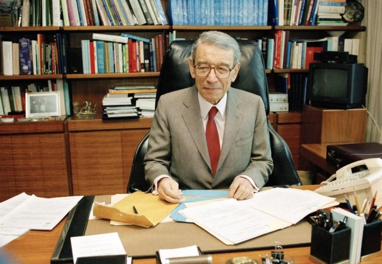 Boutros Boutros Ghali in his office in 1996. Credit: UN Photo/Evan Schneider
