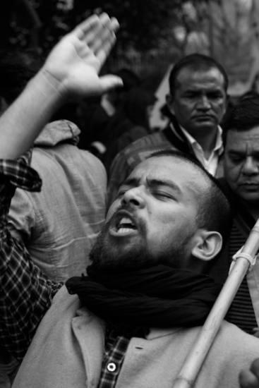 A student at the demonstration for Kanhaiya Kumar. Credit: Shome Basu