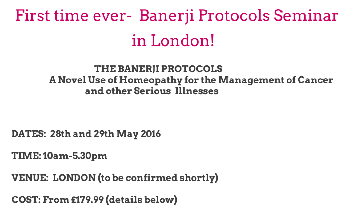 A notice on banerjiprotocolsuk.com announcing the details of the scheduled event. Source: banerjiprotocolsuk.com