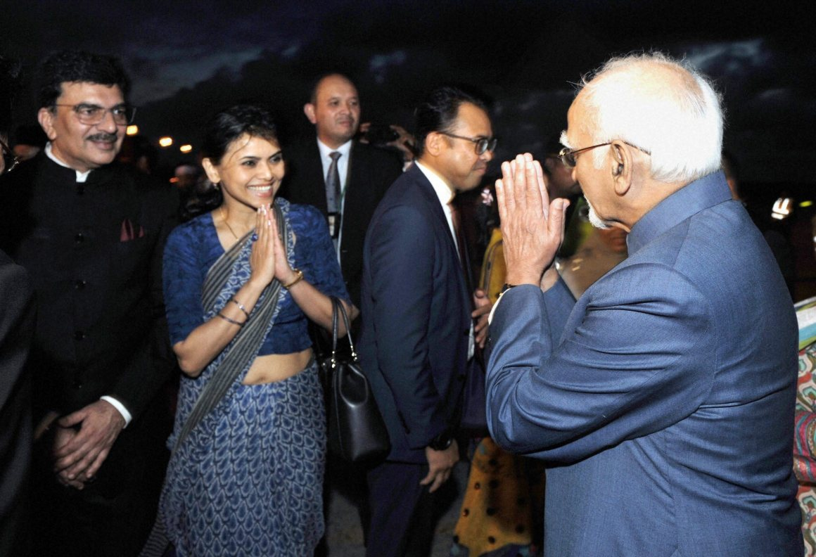 Vice President Hamid Ansari being received by the High Commissioner of India in Brunei, Nagma M. Mallick in Bandar Seri Begawan, Brunei on Monday. Credit: PTI