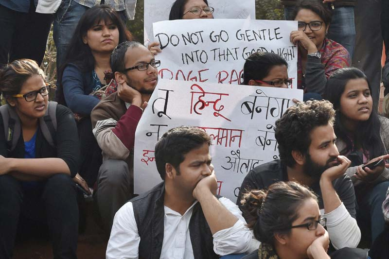 Students protesting in JNU following the arrest of the Union president Kanhaiya Kumar. Credit: PTI
