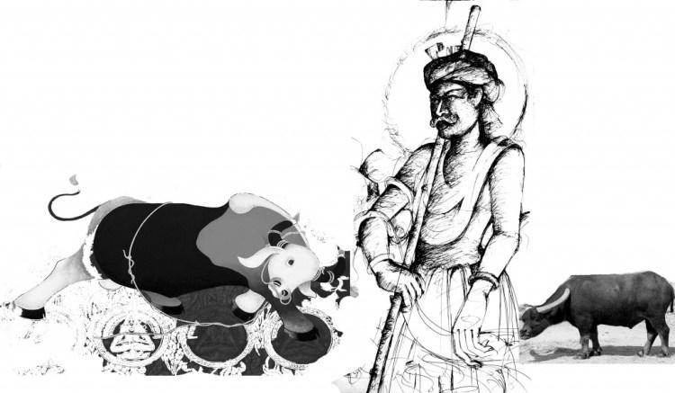 Mahishasura, as depicted by the Santhal artist, Lal Ratnakar