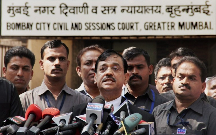 Public prosecutor Ujjwal Nikam interacts with the media after David Headley deposed before a court through video link in the 26/11 case in Mumbai on Thursday. Credit: PTI