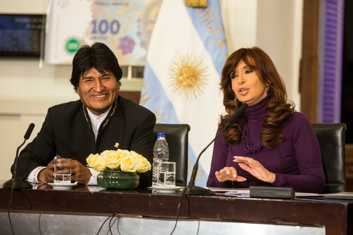 Bolivia's president, Evo Morales, with Cristina Kirchner, former president of Argentina, in Buenos Aires, 2015. Credit: Ministry of Culture, Argentina