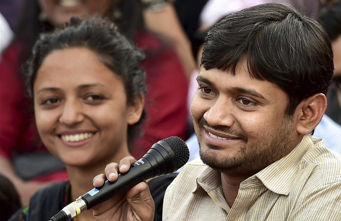 JNUSU President Kanhaiya Kumar with the union Vice President Shehla Rashid addresses a news conference at the JNU campus in New Delhi on Friday. Credit: PTI Photo by Kamal Kishore