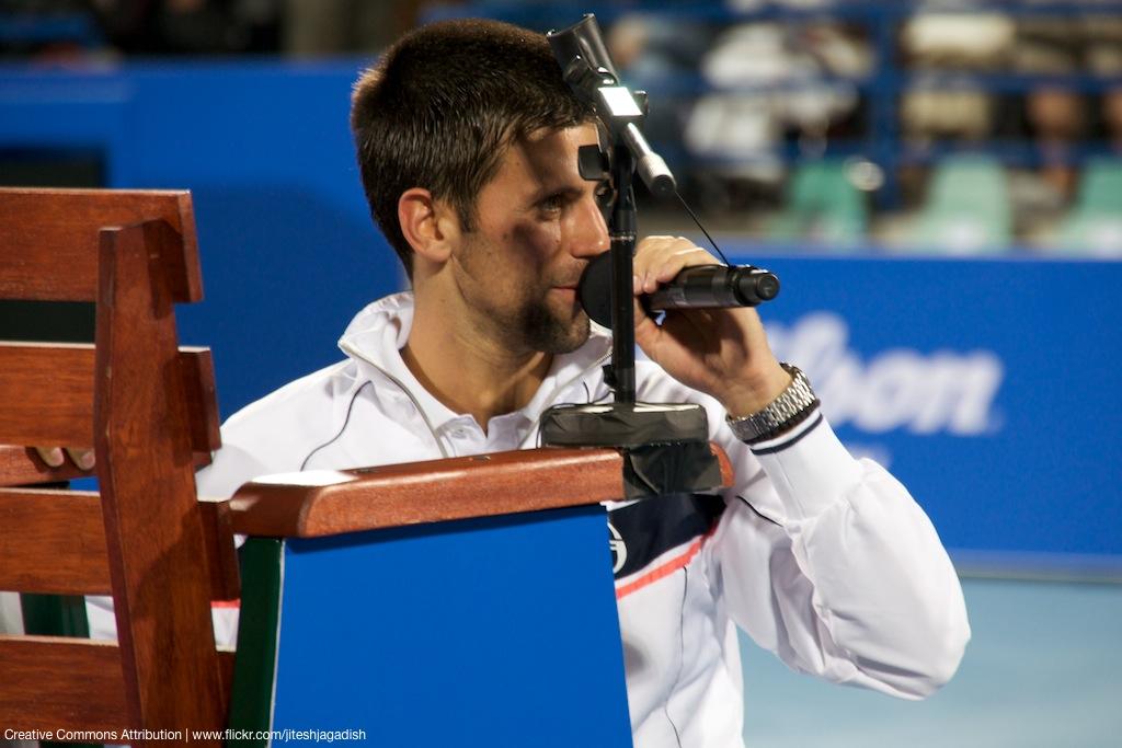 Surely you're joking, Novak? Djokovic at a tournament in 2011. Credit: jiteshjagadish/Flickr, CC BY 2.0
