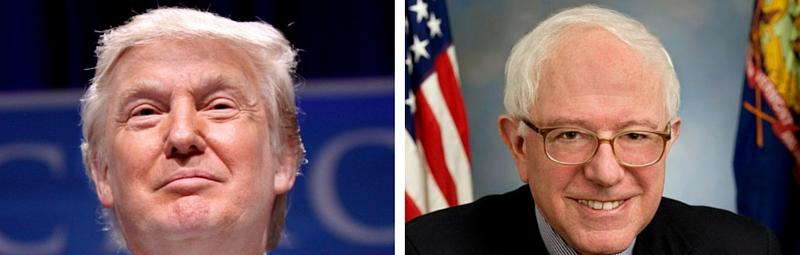 Donald Trump and Bernie Sanders. Credit: Wikimedia Commons