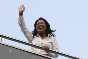 Peru's presidential candidate Keiko Fujimori celebrates after exit polls of the first round of Peru's presidential election in Lima, Peru, on April 10, 2016. Credit: Reuters/Paco Chuquiure