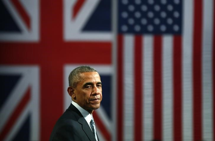 U.S. President Barrack Obama takes part in a Town Hall meeting at Lindley Hall in London, Britain, April 23, 2016. Credit: REUTERS/Stefan Wermuth