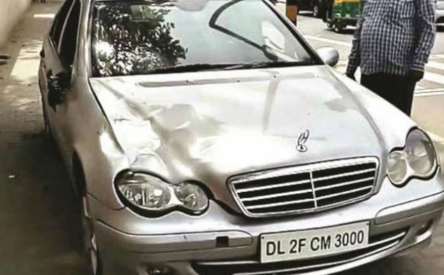The Mercedes after the accident that killed Siddharth Sharma, allegedly driven by a minor.
