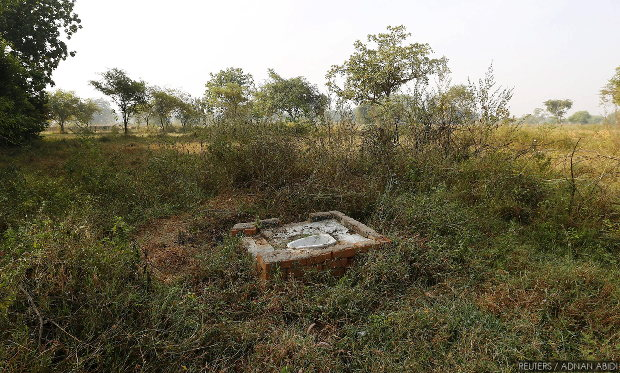 An open toilet in rural Chhattisgarh. More than 3.5 lakh toilets were built in the state in 2015-16. Credit: Reuters
