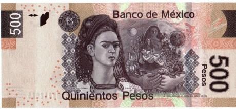 Frida Kahlo on the reverse of the 500 Mexican peso note, alongside her painting Autorretrato en la frontera entre el abrazo de amor de el universo, la tierra (México), yo, Diego y el Señor Xólotl (1949). Credit: banknoteworld.com.