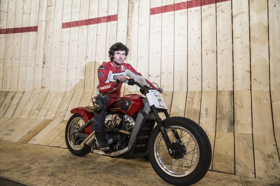Record breaker: Guy Martin next to the Wall of Death. Credit: Channel 4