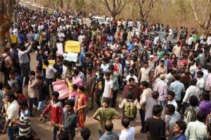 File photo of HCU students protesting. Credit: PTI