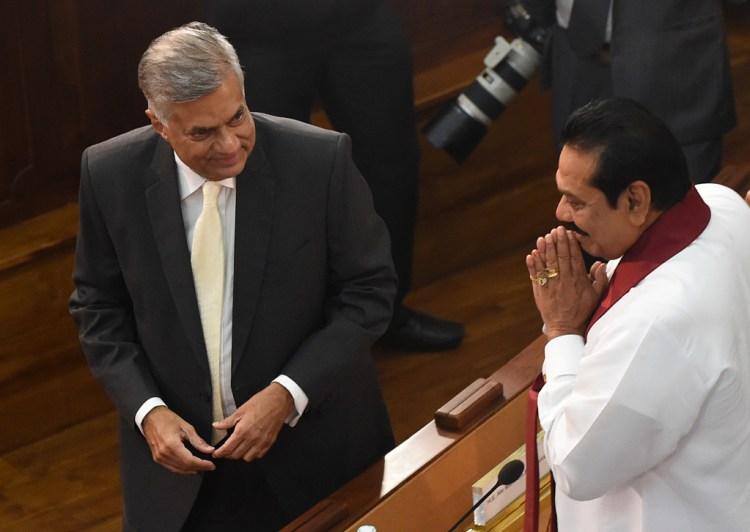 Sri Lanka's Prime Minister Ranil Wickremesinghe (L) and former president Mahinda Rajapaksa. Credit: Ishara K.