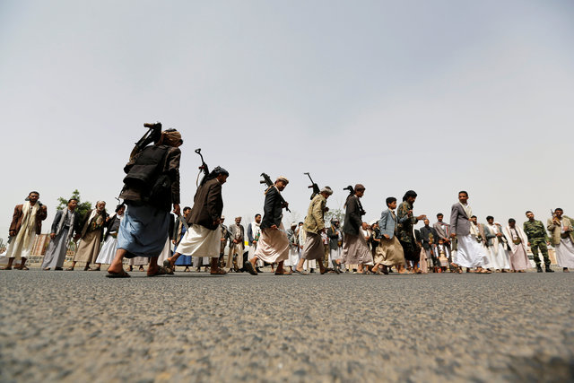 Tribesmen loyal to the Houthi movement perform the traditional Baraa dance as they attend a gathering to show support to the movement in Sanaa, Yemen, May 26, 2016. Credit: Reuters/Khaled Abdullah