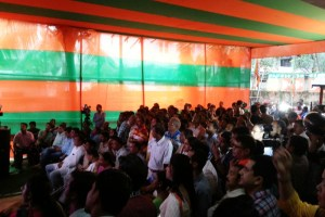People following election results at the Assam BJP office. Credit: Sushanta Talukdar