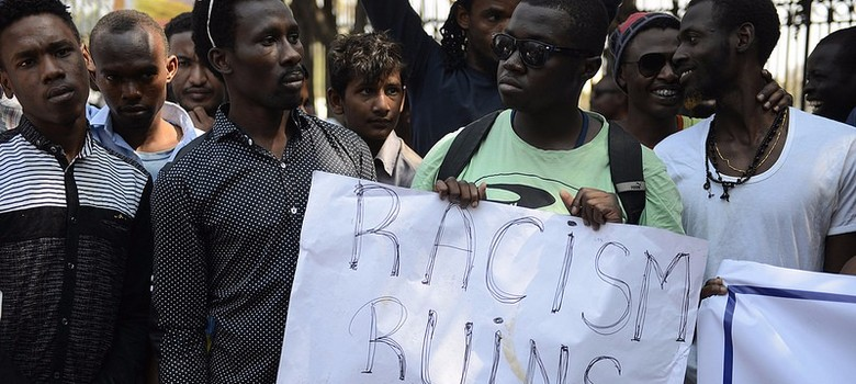 African students in India demonstrate against racist violence. Credit: PTI/Files