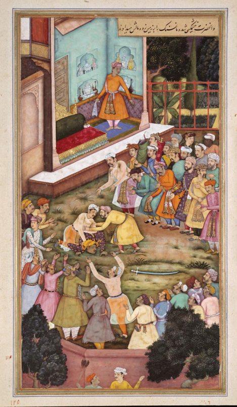 Akbar wrestles with Raja Man Singh. Credit: Wikimedia Commons