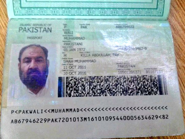 The Pakistani passport Mullah Mansour was reportedly carrying. Credit: Twitter