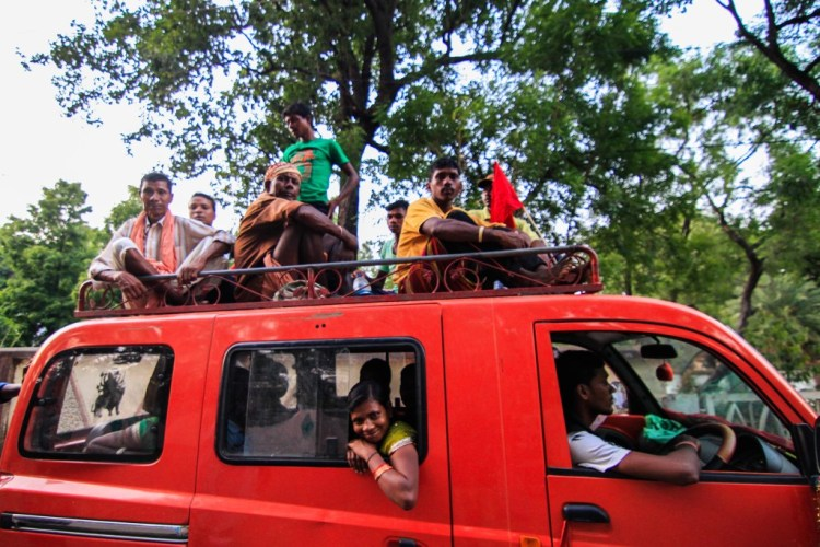 The meeting ended by evening, since many vehicles had to travel into the jungle. This vehicle would travel 53 kms to Tondiki Panchayat.