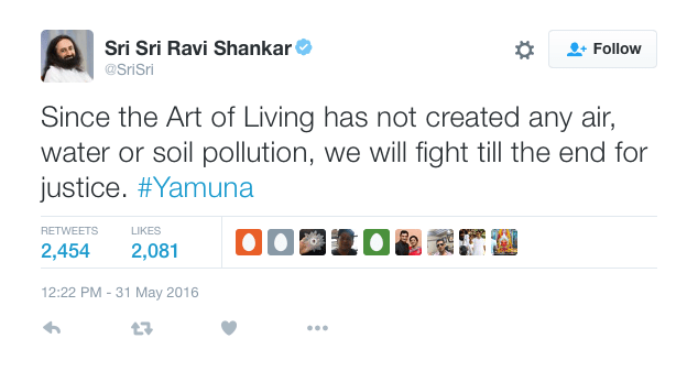 Screen shot of Sri Sri Ravi Shankar's Twitter page. Credit: Twitter
