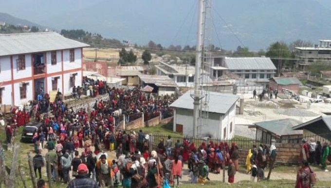 Protesters gathered in front of Tawang police station before the police firing began on May 2. Credit: By special arrangement