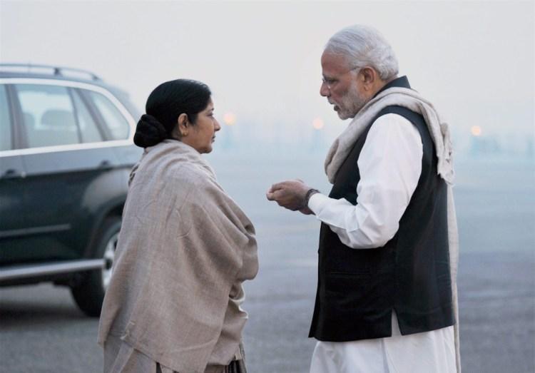 Prime Minister Narendra Modi and External Affairs Minister Sushma Swaraj. Credit: PTI