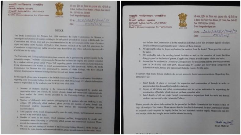 DCW notice to universities in Delhi