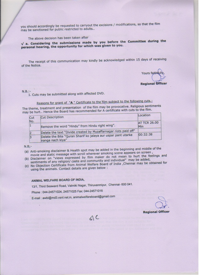 The show cause notice received by filmmaker Meera Chaudhary