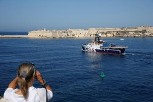 The Migrant Offshore Aid Station (MOAS) ship MV Phoenix leaves Valletta's Grand Harbour, Malta, for the start of its summer search and rescue operations in the central Mediterranean, June 6, 2016. Credit: Reuters/Darrin Zammit Lupi
