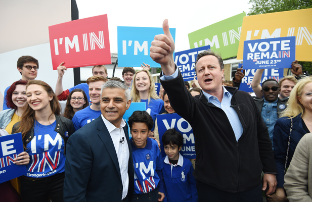 Britain's Prime Minister David Cameron (R) makes a joint appearance with Mayor of London Sadiq Khan (2nd L) as they launch the Britain Stronger in Europe guarantee card at Roehampton University in West London, Britain May 30, 2016. Credit: Reuters/Facundo Arrizabalaga