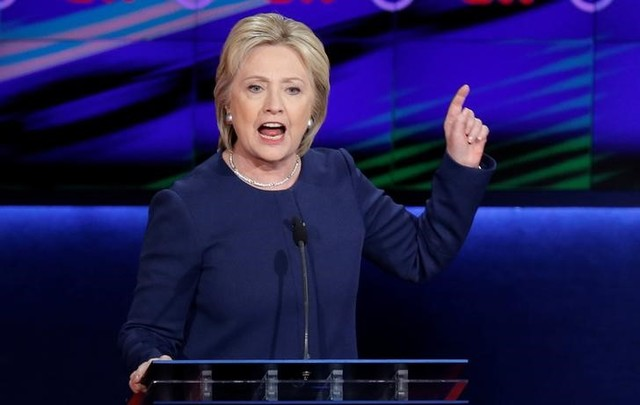 Democratic US presidential candidate Hillary Clinton speaks during the Democratic US presidential candidates' debate in Flint, Michigan, March 6, 2016. Credit: Reuters/Jim Young/Files