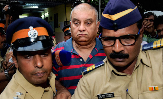 Peter Mukerjea leaves after visiting Khar Police station in Mumbai. Credit: PTI/Files