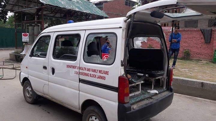 An attacked ambulance. Credit: Facebook/Khurran Parvez