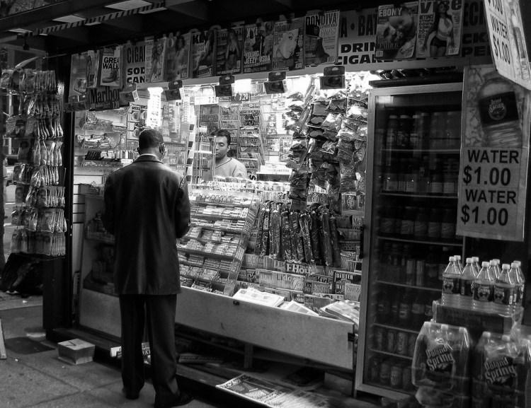 A newspaper vendor in New Work. Credit: .sanden/Flickr CC 2.0