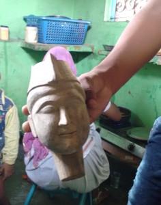 The head of a puppet carved in Mango wood. Credit: Jahnavi Visvanathan/ Kruthika N.S.