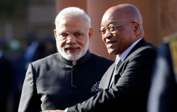 South African President Jacob Zuma and Prime Minister Narendra Modi. Credit: Reuters