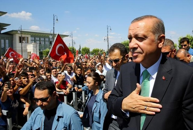 Turkish President Tayyip Erdogan greets his supporters following the Friday prayers in Ankara, Turkey, July 22, 2016. Credit: Reuters/Kayhan Ozer