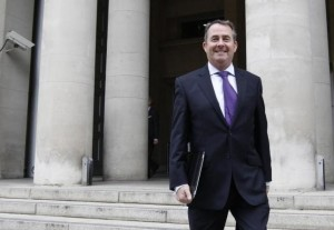 Liam Fox leaves the Ministry of Defence in London October 13, 2011. Credit: Reuters/Suzanne Plunkett