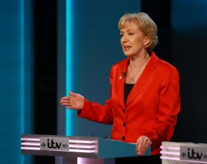 "Energy Minister Andrea Leadsom speaks during the ""The ITV Referendum Debate"" at the London Television Centre in Britain, June 9, 2016. Mandatory Credit: Matt Frost/ITV/REX/Shutterstock via Reuters"