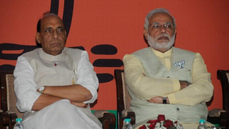 Rajnath Singh and Narendra Modi. Credit: BJP