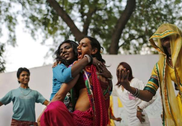 In this 2014 file photo, transgender persons dance to celebrate after India's Supreme Court recognised a third gender. Credit: Reuters/Anindito Mukherjee