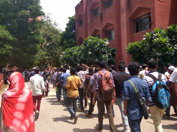 Students of Jamia Millia Islamia University protesting. Credit: Wasin Raza/Facebook